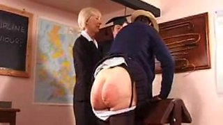 Naughty granny gets her booty spanked hard