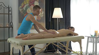 Oiled chick Lina gets an erotic massage and demands to be fucked