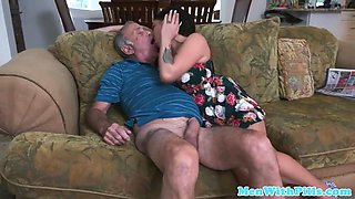 teabags and geriatric babe sucks his cock