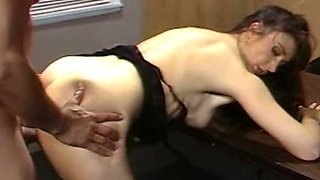 Redhead sexy babe blowing cock of the guy in his office
