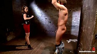 hot mistress fucks her slave with a big strapon