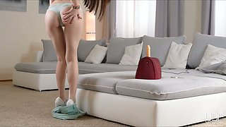 Appetizing long legged and straight haired brunette goes solo with toy