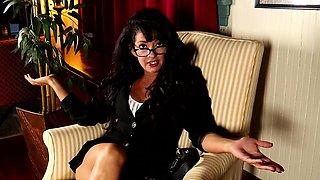 Brunette American mature dildoing herself