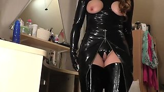 MILF black latex and boots