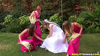 Sexy Bride With Her Naughty Bridesmaids