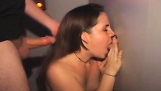 Brunette Amateur Double Blowjob In Threesome At Glory Hole