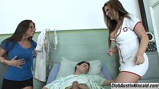 Big titty nurse Austin Kincaid female doctor fucks big rod threeway