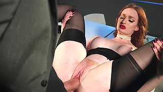 Gorgeous redhead shows how hot she is to her new boss