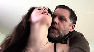 Old Young Amazing BIG TITS girl fucks old man