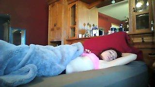 Spying On Sleeping Sister'S Wet Dream, Gropes Herself In Sleep