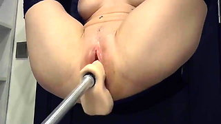 Her exposed and unprotected pussy gets machine serviced