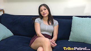 Just cute Asian brunette Kendra Spade is turned into a horny cowgirl