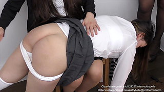 Spanked over the knee.