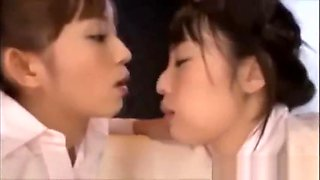 Japanese bitches kissing and swaping fluids