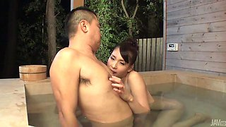Pretty babe Yui Oba blows a tasty dick in the bath