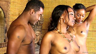 All ebony foursome with massage girls fucking their clients
