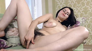 Hairy Old Nina comes indoors to masturbate with her toy