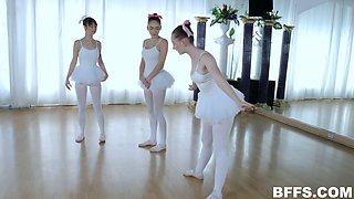 Cute ballerinas in tutus desire to work on stiff dick in the dance practice room