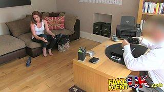 FakeAgentUK: Attractive redhead gets surprise creampie in fake casting