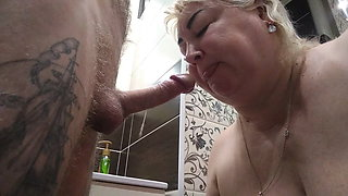 caught her in the toilet and fucked her in the mouth