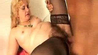 Hairy Mature in Stockings Sucks and Fucks
