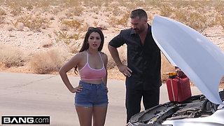 Valentina Nappi goes skinny dipping her roadside mechanic