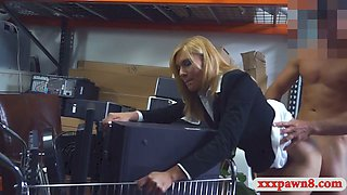 Hot blonde MILF wants to get laid in pawnshop's storage room
