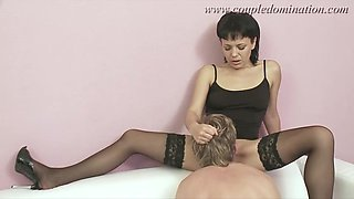 CoupleDomination - Sex slave gets hard cock and huge strapon