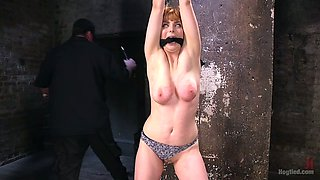 Tied up babe Penny Pax gets punished in the horror dark room