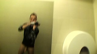 Teen babe gets fucked in the public toilet