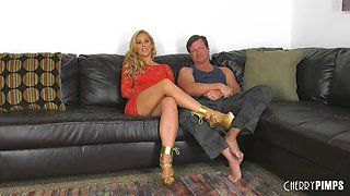 Blonde Cherie Deville has a great time bouncing on a dick