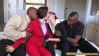 CFNM babes fucked in interracial fourway