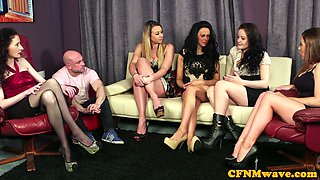 Adorable cfnm babes tugging dudes dong