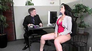 Seducing brunette Ryan Smiles is making dude cum in office