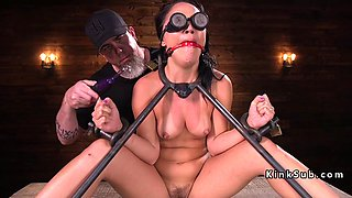 A gagging fetish brunette is being abused roughly after she gets tied up