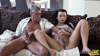 DADDY4K. Skillful old man manages to fuck comely brunette...