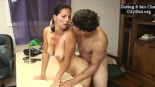 Sexy cougar milf younger lover office