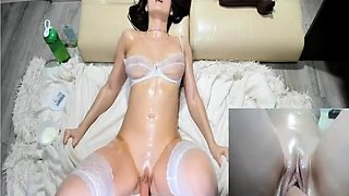 Sexy Mary in stockings tries fuck machine