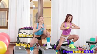 athletic redhead lesbian gets a pussy workout