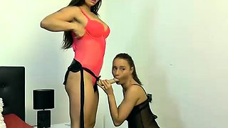 Two sensual camgirls in lingerie engage in hot lesbian sex