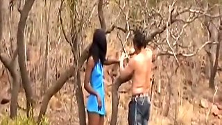 African Slave Slurping Long White Cock Outdoors