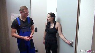 18yr old german lingerie teen seduce the repairman to fuck