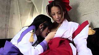 Naughty Asian teens in uniform engage in hot lesbian fucking