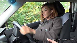 Ebony teen bangs white cock in car