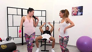 Two Fitness Babes Banged in the Gym