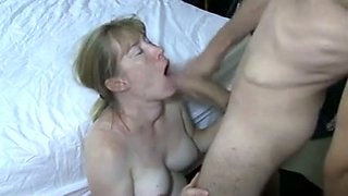 Lustful blonde mommy sucks my dick and swallows my cum
