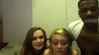 Horny lesbian interracial threesome