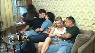 Two couples in old on young swinger porn