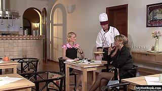 Cynthia Vellons and Kate have a hot threesome with their personal chef who..