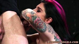 Tattooed babe gets railed